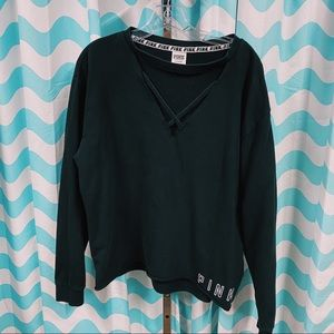 VS Pink Cut Out Black Crewneck Sweater